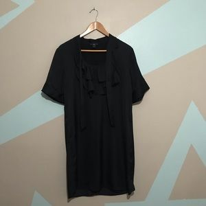 GAP Black Slip-on Ruffle Dress Medium LBD